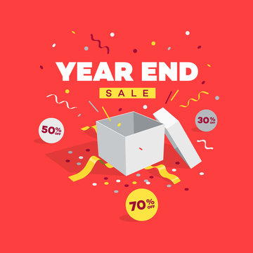 Special offer year end sale discount symbol with open gift, discount labels and confetti. Easy to use for your sale promotion.