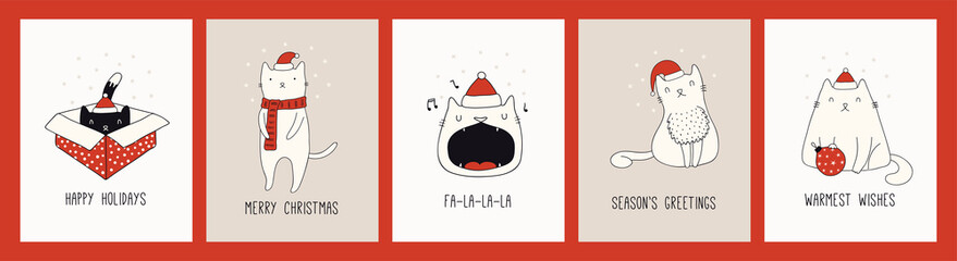 Poster Illustrations Collection of hand drawn Christmas cards with cute cats in Santa Claus hats, quotes. Vector illustration. Line drawing. Design concept for holiday print, invite, banner, gift tag.