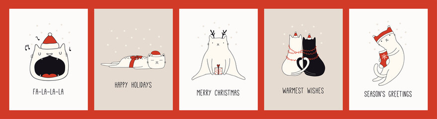 Printed kitchen splashbacks Illustrations Collection of hand drawn Christmas cards with cute cats in Santa Claus hats, quotes. Vector illustration. Line drawing. Design concept for holiday print, invite, banner, gift tag.