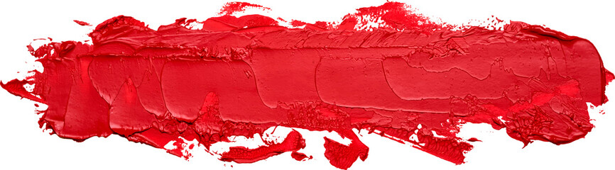 Hand drawn oil painting long red brush stroke isolated on white background.