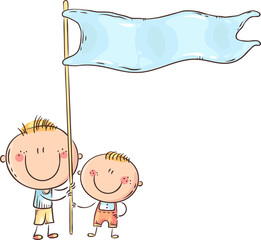 Wall Mural - Kids holding a blue flag, colorful vector illustration
