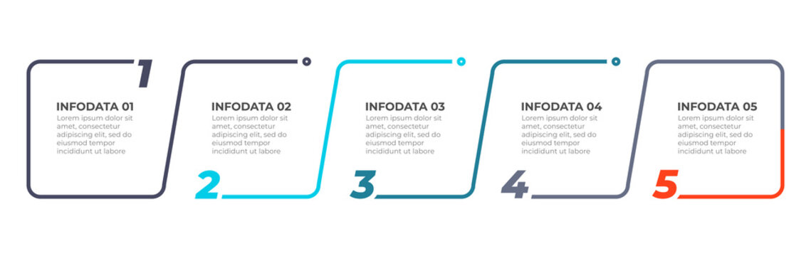 Thin line flat infographic design elements and number options.Timeline with 5 steps or process. Vector business template for presentations.