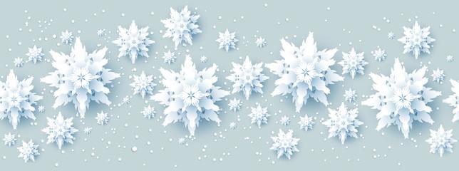Fotomurales - Realistic paper cut snowflakes banner