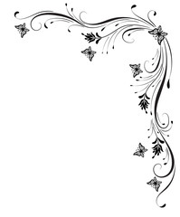 Wall Mural - Decorative floral corner ornament with butterflies for stencil isolated on white background