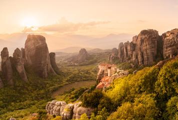 Monasteries in Meteora on the rocks.