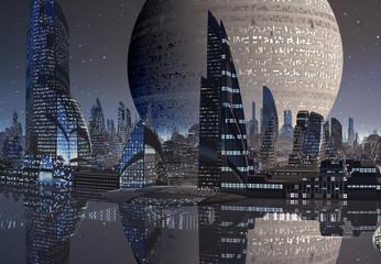 3D Rendered Futuristic City on an Alien Planet - 3D Illustration