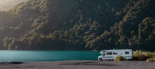 Motorhome in Chilean Ensenada Family trip travel vacation on Motorhome RV. Panoramic view
