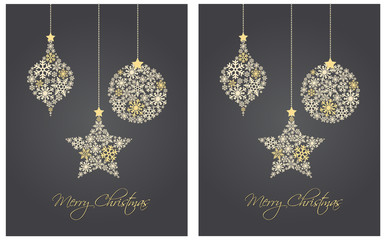 Christmas ornaments made from snowflakes vector illustration