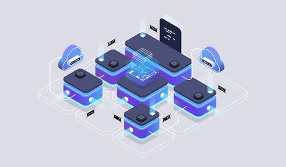 Isometric design concept virtual reality and augmented reality. software development and programming. Computation of big data center, quantum computer isometric vector technology Wall mural