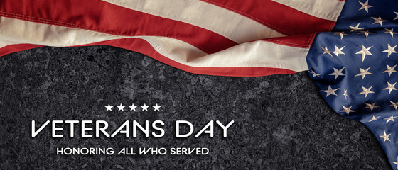 American National Holiday. United States Flag on black background. Text: VETERANS DAY. HONORING ALL WHO SERVED.