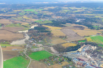 Wall Murals Deep brown aerial view of norwegian countryside