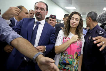 Jordanian citizen Hiba Labadi is seen upon her release by Israel, at the King Hussein Bridge crossing near Amman