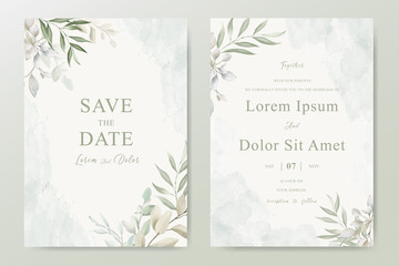 Watercolor Wedding Invitation template card With Beautiful Foliage Fototapete