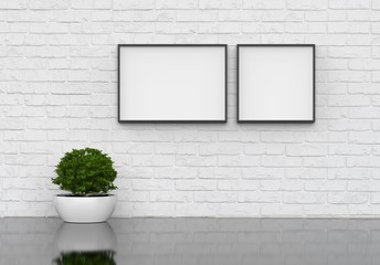 Interior poster mock up with square frame and plants in vase on white wall background, 3d illustration