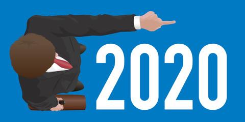 Carte de vœux sur le concept du leader qui montre la voie avec un homme vu du dessus qui indique le bras tendu, l'objectif a atteindre pour la nouvelle année.