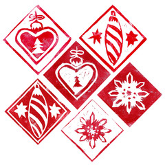 Abstract template of different red Christmas decorations isolated on white background. Hand made linoprint. Elements and inverted objects of snowflakes, icicles and hearts.