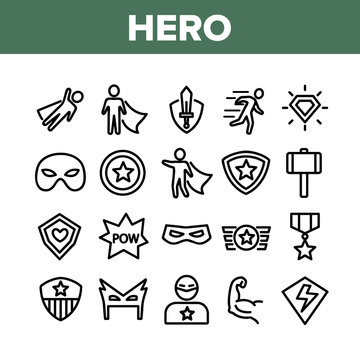 Super Hero Collection Elements Icons Set Vector Thin Line. Hero Superman Silhouette And Captain America, Face Mask And Shield Concept Linear Pictograms. Monochrome Contour Illustrations