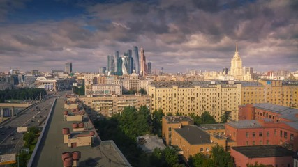 Fototapete - Aerial view of Moscow City skyline. Timelapse, 4K UHD.