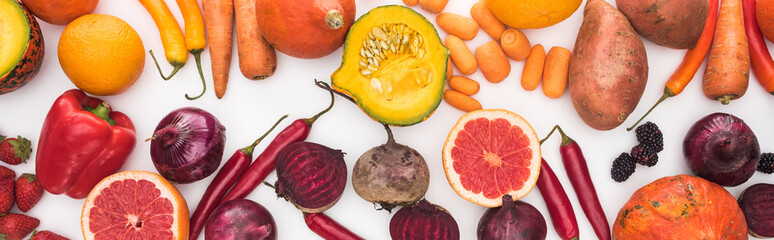 panoramic shot of colorful fresh vegetables and fruits on white background