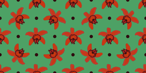 Vector seamless pattern. Pretty pattern in small flower. Orange orchid flowers. Turquoise background. Ditsy floral background for fashion prints, home decor or stationery