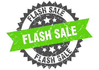 flash sale grunge stamp with green band. flash sale