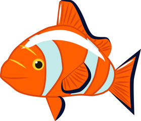 Canvas Prints Fairytale World Orange fish, illustration, vector on white background.