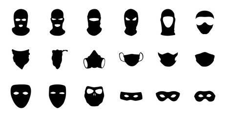 Vector masks of criminals, bandits and mafia