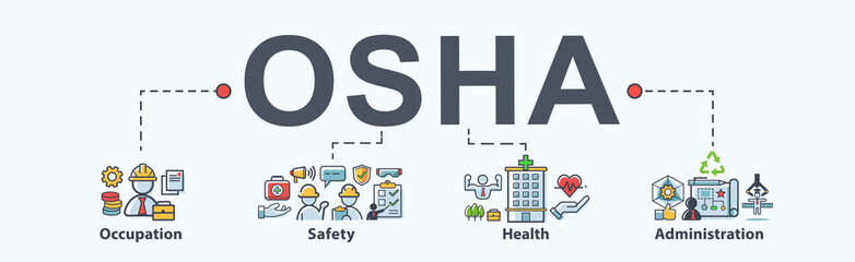 OSHA - Occupational Safety and Health Administration banner web icon for business and organization. infographic design concept.