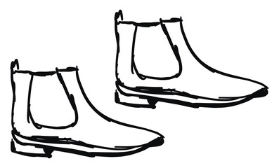 Boots sketch, illustration, vector on white background.