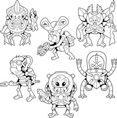 cartoon cute aliens, coloring book, set of pictures
