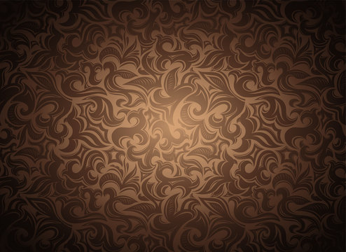 damask vintage gold, bronze, caramel, chocolate background with floral elements in Gothic, Baroque style. Royal texture, vector Eps 10