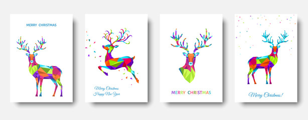Fotomurales - Colorful Christmas  reindeer and  snowflakes.