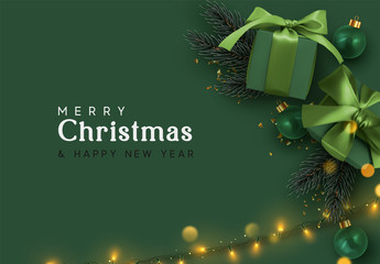 Fototapete - Holiday background Merry Christmas and Happy New Year. Xmas design with realistic festive objects, dark green color gift box, balls, light lamps garlands, glitter gold confetti. Festive banner, poster