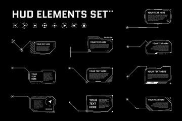 Fototapeta HUD digital futuristic callout title set. Call out sci fi frame bar labels. Presentation or infographic modern digital info box layout template. Interface HUD UI GUI element. Vector illustration