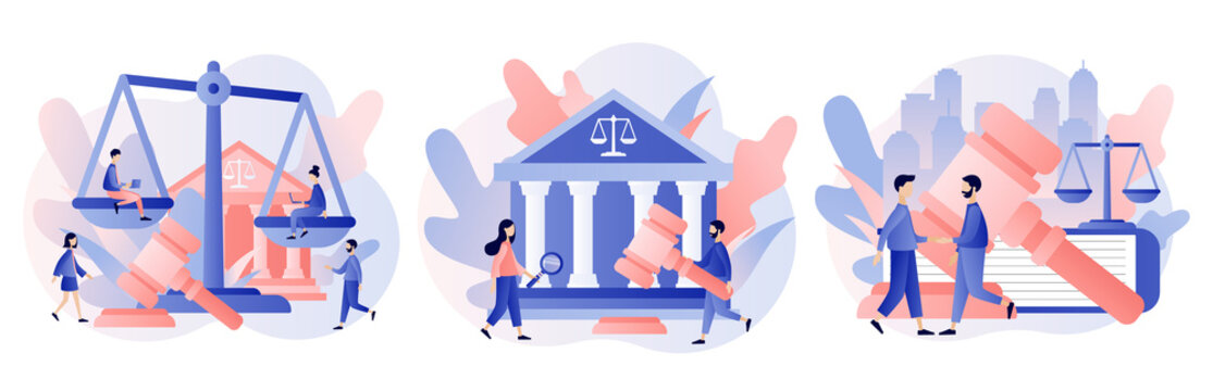 Law and Justice Concept. Justice scales, judge building and judge gavel. Supreme court. Modern flat cartoon style. Vector illustration