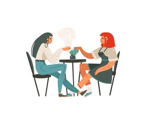 Hand drawn vector abstract cartoon modern graphic girls sitting in cafe and drinking coffee illustration art isolated on white background