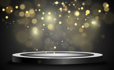 Round podium, pedestal or platform, illuminated by spotlights in the background. Vector illustration. Bright light. Light from above. Advertising place Fototapete