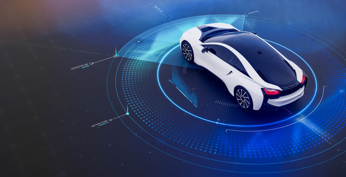 Futuristic car with technology user interface concept scene (3D Illustration)