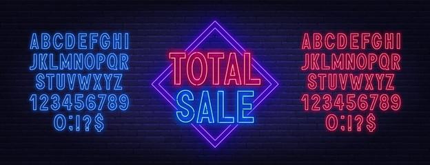 Fototapete - Total sale neon sign on dark background. Neon alphabet on a dark background. Template for design.