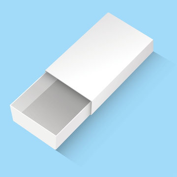 Illustration of an object box item with drawer, match box gift packaging. Ideal for product and information catalogs
