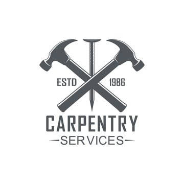 Black and white illustration logo of a workshop of carpentry. Vector illustration, hammer, nail and text carpentry services on a white background.