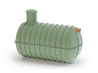 Plastic septic tank isolated on white -  3d Illustration