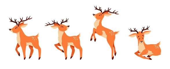Cute cartoon deer with horns. Standing, jumping and lying deer.
