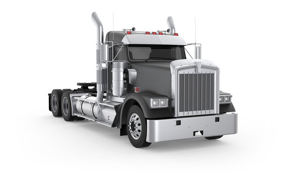 Generic American semi truck with daily cab from the front right side, photo realistic isolated 3D illustration on the white background.