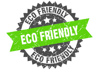 eco friendly grunge stamp with green band. eco friendly