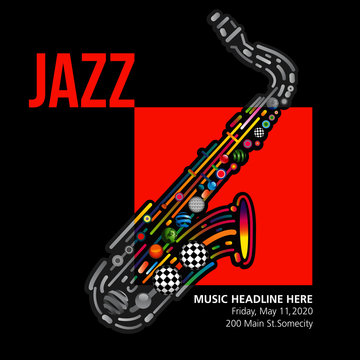 Jazzy colorful music background with an abstract sax.