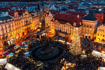 View from above on Christmas market in Prague.