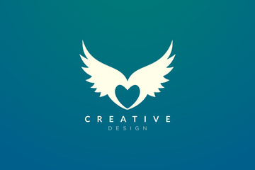 The idea of design is a combination of heart and wing with a minimalist and elegant form Fototapete