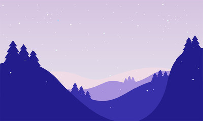 Winter Landscape Background in Cartoon Style with Purple and Violet Color Combination. Designed for web, greeting, wallpaper, etc. Suitable for your business.