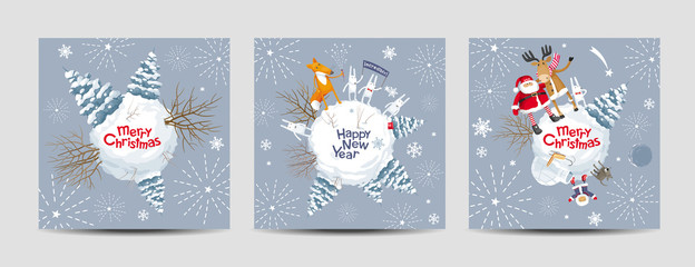 Christmas cards vector set - Christmas planets